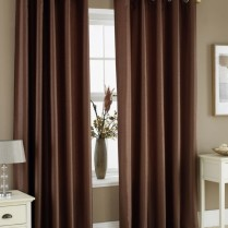 Pair of Chocolate Brown Faux Silk Eyelet Curtains