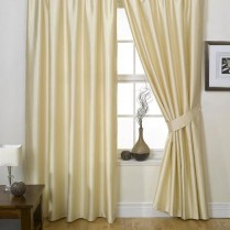 Pair of Champagne Faux Silk Pencil Pleat Curtains