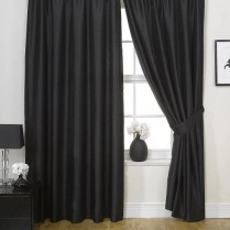 Pair of Black Faux Silk Pencil Pleat Curtains