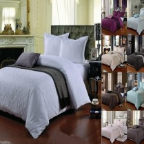 100% Cotton 400 Thread Count Damask Jacquard Duvet Cover Set