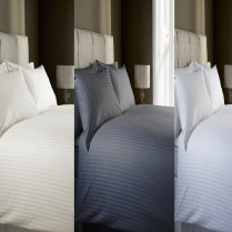 100% Cotton 400 Thread Count Satin Stripe Jacquard Duvet Cover Set
