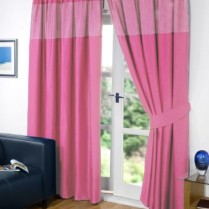 Pink Pencil Pleat Gingham Curtains