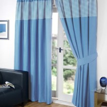 Blue Pencil Pleat Gingham Curtains