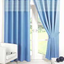 Blue Eyelet Gingham Curtains