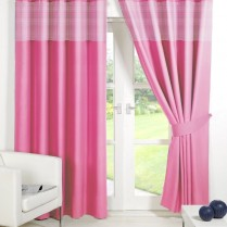 Pink Eyelet Gingham Curtains