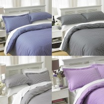 LUXURY CHECK DESIGN EASY CARE POLY COTTON DUVET COVER BED SET