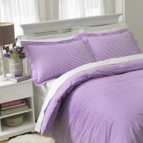 Luxury 180 Thread Count Gingham Check Bed Set Purple / Plum Duvet Cover + Pillowcases