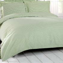 Luxury 180 Thread Count Gingham Check Bed Set Green Duvet Cover + Pillowcases