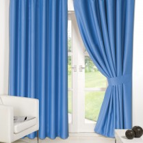 Pair of Duck Egg Blue Supersoft Blackout Thermal Curtains Ring Top / Eyelet *inc Tiebacks