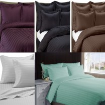 500 Thread Count 12'' ( 30cm ) Classic Stripe Fitted Sheets - Choice of 7 Colours