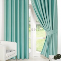 Pair of Aqua Supersoft Blackout Thermal Curtains Ring Top / Eyelet *inc Tiebacks