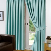 Pair of Aqua Supersoft Blackout Thermal Curtains Pencil Pleat *inc Tiebacks