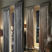 Velour Faux Silk Velvet PENCIL PLEAT / TAPE TOP Fully Lined Ready Made Pair Curtains