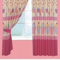 Children's Kids Pair of CUPCAKE DESIGN CURTAINS With Matching Tie Backs By Viceroybedding