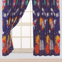 Children's Kids Pair of ROCKET DESIGN CURTAINS With Matching Tie Backs By Viceroybedding