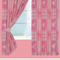 Children's Kids Pair of HORSE DESIGN CURTAINS With Matching Tie Backs By Viceroybedding