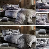 OMBRE CRUSHED VELVET Luxury Diamante Duvet Quilt Cover Bedding Set