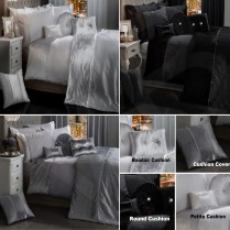 BLING CRUSHED VELVET Luxury Diamante Duvet Quilt Cover Bedding Set