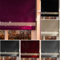 Easy Fit Crushed Velvet Diamante Trim Straight Edge Roller Blinds