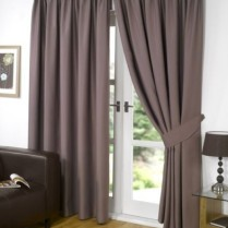 Pair of Mink Faux Silk Pencil Pleat Curtains