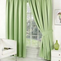 Pair of Sage Green Faux Silk Pencil Pleat Curtains