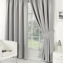 Pair of Silver Faux Silk Pencil Pleat Curtains