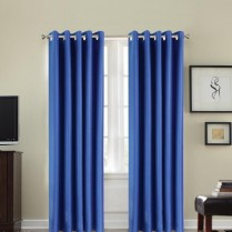 Pair of Blue Faux Silk Eyelet Curtains