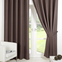 Pair of Mink Faux Silk Eyelet Curtains