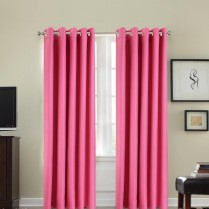 Pair of Pink Faux Silk Eyelet Curtains
