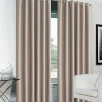 Pair of Beige Faux Silk Eyelet Curtains
