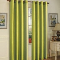 Pair of Sage Green Faux Silk Eyelet Curtains
