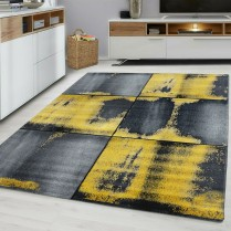 SQUARES 9320 OCHRE YELLOW GREY MUSTARD GOLD RUG LARGE LIVING ROOM