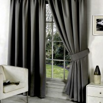 Pair of Grey Supersoft Blackout Thermal Curtains Pencil Pleat *inc Tiebacks