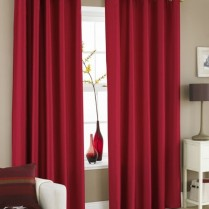Pair of Red Faux Silk Eyelet Curtains