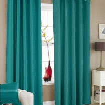 Pair of Turquoise Faux Silk Eyelet Curtains