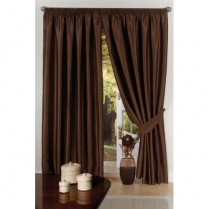 Pair of Chocolate Brown Faux Silk Pencil Pleat Curtains