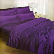 Purple/ Amethyst Double Bed Size Satin Complete Duvet Cover Bed Set
