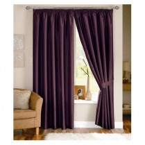 Pair of Aubergine/ Purple Faux Silk Pencil Pleat Curtains