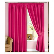 Pair of Cerise Pink Faux Silk Pencil Pleat Curtains