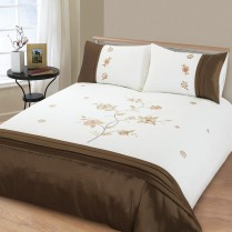 Chocolate Brown Angelica Embroidered Embellished Duvet Cover Set