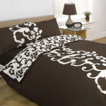 'Chelsea' Design Single Duvet Cover Set Chocolate Brown