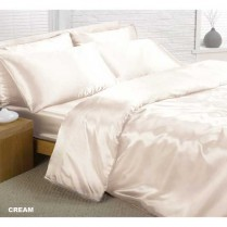 Cream Double Bed Size Satin Complete Duvet Cover Bed Set