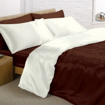 Reversible Chocolate Brown/ Cream Double Bed Size Satin Complete Duvet Cover Bed Set