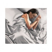Silver King Bed Size Satin Complete Duvet Cover Bed Set