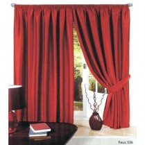 Pair of Red Faux Silk Pencil Pleat Curtains