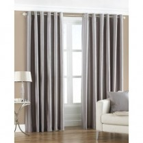 Pair of Silver Faux Silk Eyelet Curtains