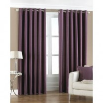 Pair of Purple Faux Silk Eyelet Curtains