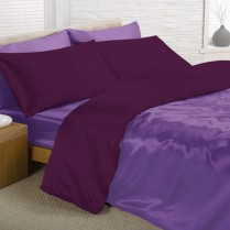 Reversible Amethyst and Deep Purple Double Bed Size Satin Complete Duvet Cover Bed Set