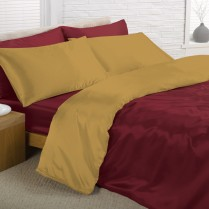 Reversible Burgundy and Gold Double Bed Size Satin Complete Duvet Cover Bed Set