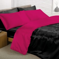 Reversible Deep Black and Cerise King Bed Size Satin Complete Duvet Cover Bed Set